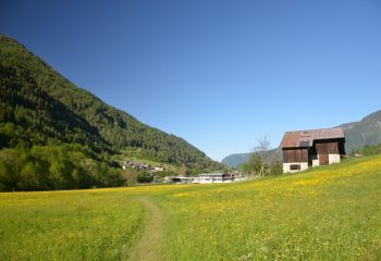 Commezzadura sentiero nordic nelle praterie fiorite