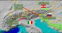 mappa con la distribuzione attuale degli orsi sulle Alpi