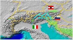 mappa della eventuale sviluppo di una metapopolazione sulle Alpi