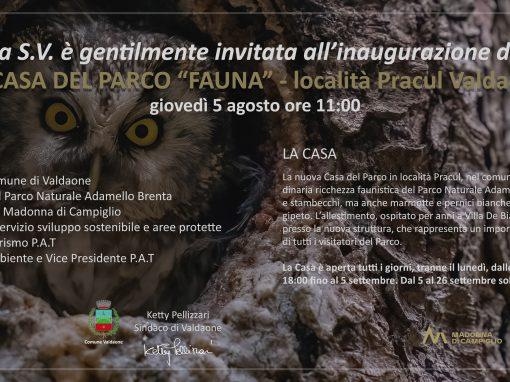 Sarà inaugurata giovedì 5 agosto alle 11.00 la nuova Casa del Parco Fauna a Pracul (Valdaone)